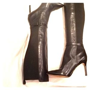 Via Spiga Leather Knee High Heel Boots Size 7